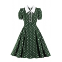 Vintage Womens Dress Polka Dot Print Tie Detail Waist-Controlled Short Puff Sleeve Midi A-Line Slim Fitted Turn-down Collar Swing Dress