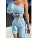 Womens Co-ords Casual Solid Color Tie Side Cut-out Design One Shoulder Slim Fitted Shorts Long Sleeve Tee Co-ords