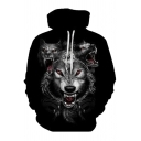 Fashion 3D Wolf Pattern Long Sleeve Sport Casual Pullover Drawstring Hoodie