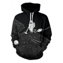 Unisex Drawstring Hooded Outer Space 3D Printed Color Block Hoodie Sweatshirt
