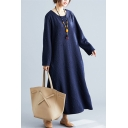 Basic Sweatshirt Dress Silk and Cotton Solid Color Flower Knitted Round Neck Long Sleeves Oversized Long Sweatshirt Dress for Women