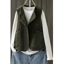 Thick Women's Solid Color Big Pockets Button-up Collarless Sleeveless Oversized Corduroy Vest
