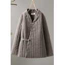 Leisure Women's Coat Solid Color One Button V Neck Long Sleeves Fitted Cotton Coat
