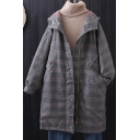 Casual Coat Plaid Printed Zip-Fly Drawstring Button Detail Side Pockets Long Sleeves for Women