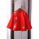 Ethnic Style Flower Embroidered Single-Breasted Stand Collar Long Sleeves Relaxed Fit Linens Coat for Women