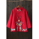 Vintage Women's Coat Embroidery Button-down Stand Collar Long Sleeves Linens Coat