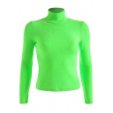 Solid Fluorescent Green High Neck Backless Bow-Tie Back Slim Fit Crop Sexy Knitted Pull-Over Sweater Top