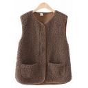 Novelty Womens Vest Plain Sherpa Front Double-Pocket Zipper down Regular Fit V Neck Sleeveless Vest