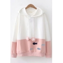 Vintage Womens Hoodie Fish Embroidered Applique Contrast Paw-Drawstring Loose Fit Long Sleeve Hoodie