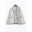 Classic Womens Jacket Contrast Trim Front Double-Pocket Lamb Wool Button down Loose Fit Long Sleeve Jacket