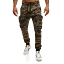 Men's Hot Fashion Cool Camouflage Printed Knee Pleated Ripped Detail Flap Pocket Side Drawstring Waist Elastic Cuff Army Green Cargo Jeans