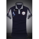 Popular Short Sleeve Air Force One Logo Print Cotton Casual Polo for Men