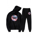Cool Womens Co-ords Abstract Letter Treat People with Kindness Pattern Relaxed Fitted Long Sleeve Hoodie Long Pants Jogger Co-ords