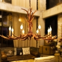 8 Lights Hanging Chandelier Farmhouse Antler Resin Drop Lamp with Candle Design in Brown