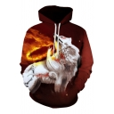 Creative Fire Wolf 3D Pattern Long Sleeves Orange and White Pullover Hoodie