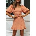Basic Girls Short Dress Solid Color Ruffled Hem Bishop Sleeve Square Neck A-Line Dress