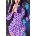 Womens Dress Casual Allover Letter FN Print Mock Neck Long Sleeve Slim Fitted Mini Bodycon Dress