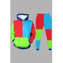Retro Mens Co-ords Color Block Drawstring Long Sleeve Hooded Sweatshirt Ankle Length Pants Regular Fit Jogger Co-ords