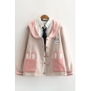 Cool Womens Woolen Jacket Color Block Rabbit Pattern Button up Peter Pan Collar Long Sleeve Loose Fit Casual Jacket