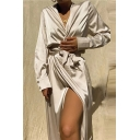 Vintage Womens Dress Plain Satin Tie Detail High Slit Cardigan Surplice Neck Long Sleeve Regular Fitted Midi A-Line Dress