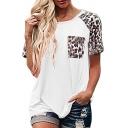 Fancy T-Shirt Trendy Color Block Leopard Print Chest Pocket Round Neck Short Sleeve for Women