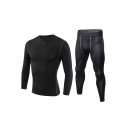 Cool Mens Co-ords Contrast Flatlock Stitching Long Sleeve Round Neck Tee Slim Fitted Pants Workout Co-ords