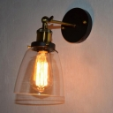 Bell Clear Glass Rotating Wall Light Factory 1-Bulb Bedside Wall Mounted Lamp in Black/Brass