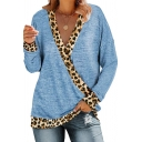 Fashion Women's T-Shirt Patchwork Leopard Pattern Contrast Hem V Neck Long Sleeves Regular Fitted Tee Top