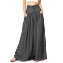 Women's Simple Plain Plus Size Wide Leg Culotte Pants Baggy Palazzo Pants