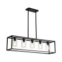 Black Rectangular Island Light Loft Metal 3/5-Light Dining Room Up/Down Pendant Lighting with Cylinder Clear Glass Shade