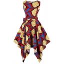Creative Womens Dress Abstract Line Plaid Print Bow-Tie Waist Asymmetric Hem Crew Neck Sleeveless A-Line Slim Fitted Midi Swing Dress