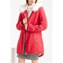 Classic Womens Parkas Drawstring Waist Fur-Trimmed Hood Thickened Zipper up Slim Fit Long Sleeve Mid-Length Parkas