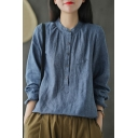 Vintage Womens Shirt Plain Linen Chest Pocket Button Detail Long Sleeve Stand Collar Loose Fit Shirt
