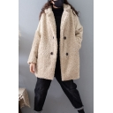 Womens Coat Stylish Lamb Wool Patchwork Double Breasted Mid-Length Long Sleeve Lapel Collar Loose Fit Fur Coat