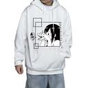 Leisure Men's Hoodie Cartoon Pattern Kangaroo Pocket Long Sleeves Relax Fitted Hooded Sweatshirt