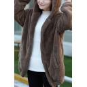 Youthful Hooded Jacket Plush Solid Color Banded Hems Side Pockets Long-sleeved Ear Hooded Jacket