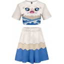 Trendy Women's 3D Set Cartoon Pig Pattern Contrast Color Short Sleeves Round Neck Regular Fitted Tee Top with Skirt Co-ords