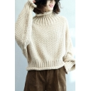 Fine-Knitted Sweater Solid Color Contrast Stitching Rolled Hem Mock Neck Long Batwing Sleeves Relaxed Fit Sweater for Women