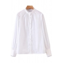 Womens Shirt Casual Plain Hollow-out Trim Button down Long Sleeve Stand Collar Loose Fit Shirt