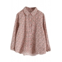 Womens Shirt Fashionable Ditsy Floral Print Pleated Placket Point Collar Button Detail Loose Fit Long Sleeve Shirt