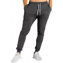 Mens Classic Stripe Patchwork Drawstring Waist Ankle Banded Pants Sports Pants