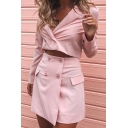 Retro Womens Co-ords Plain Double Breasted Slim Fitted Mini Skirt Lapel Collar Long Sleeve Cropped Blazer Co-ords