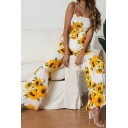 Womens Resort Jumpsuits Sleeveless Floral Pattern Tie Strap Cold Shoulder Jumpsuits