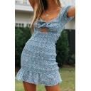 Girls Tight Dress Floral Backless Tie Front Scalloped Hem Cap Sleeve V Neck Short Dress