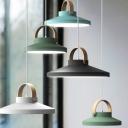 Pot Lid Design Hanging Pendant Macaron Metal Blue/Green/Black LED Ceiling Light with Wood Handle for Kitchen Bar