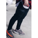 Classic Mens Pants Letter Alpha Pattern Zipper Decorated Drawstring Waist Cuffed Ankle Length Slim Fit Tapered Jogger Pants
