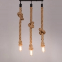 Dangling Rope Brown Cluster Pendant Light Exposed 3-Head Rural Hanging Light Fixture, 39