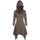Womens Dress Trendy Solid Color Button Decoration Asymmetric Hem Midi Slim Fitted Long Sleeve Hooded A-Line Dress