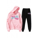 Womens Co-ords Stylish Heart Letter Treat People with Kindness Pattern Regular Fitted 7/8 Length Pants Long Sleeve Hoodie Jogger Co-ords