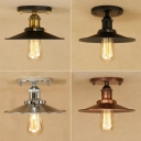 Industrial Saucer Semi Flush Mount 1 Bulb Iron Close to Ceiling Lighting Fixture in Rust/Black/Copper